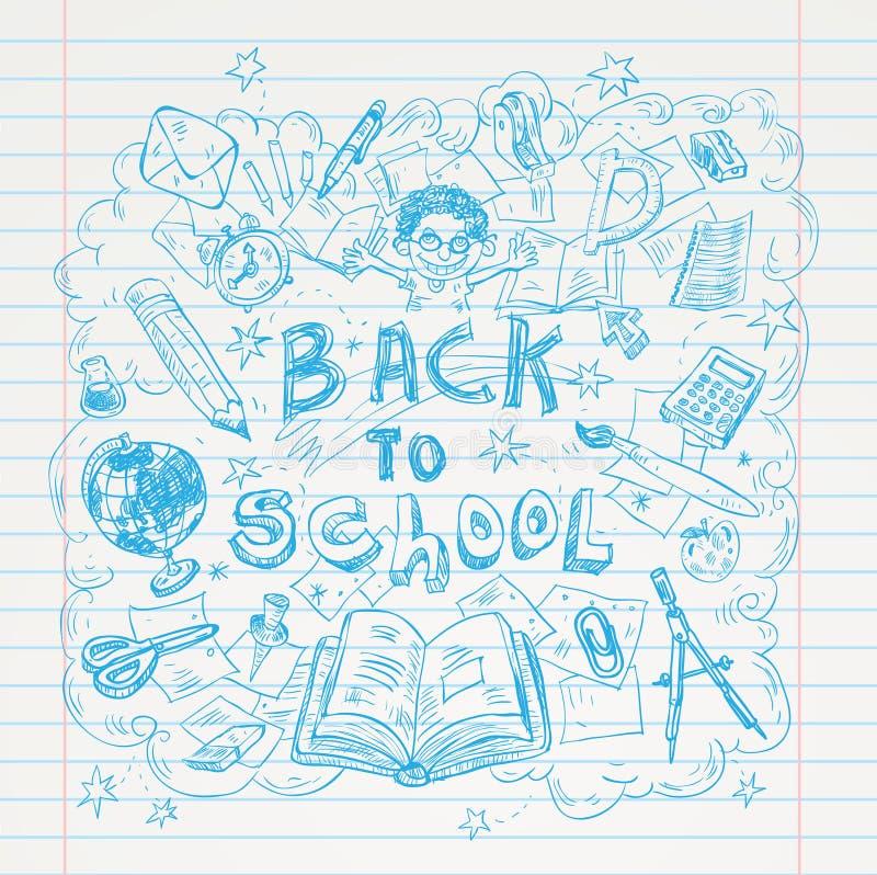 Terug naar de elementen van Schoolkrabbels, reeks etiketten en pictogrammen Vector illustratie stock illustratie