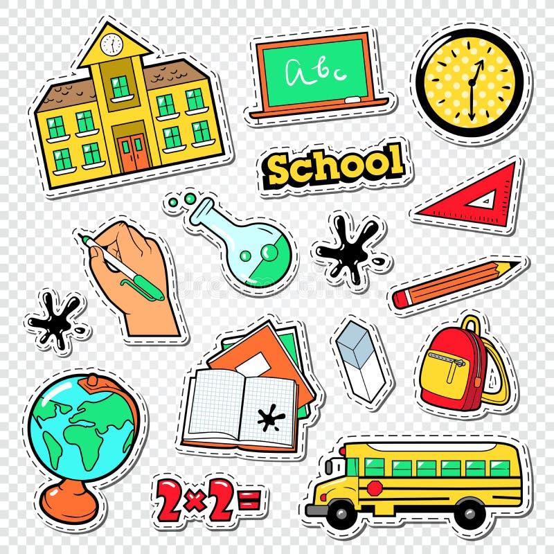 Terug naar de Krabbel van de School Onderwijsstickers, Flarden en Kentekens met Wiskunde, Backpak en Boeken stock illustratie