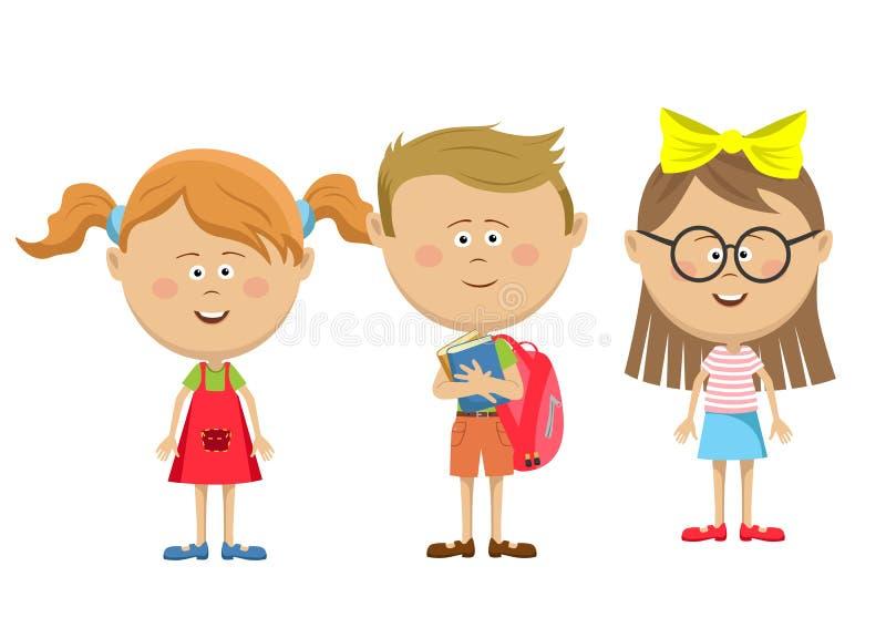 Terug naar de meisjes van schoolvrienden met jongen status gelukkig op wit stock illustratie