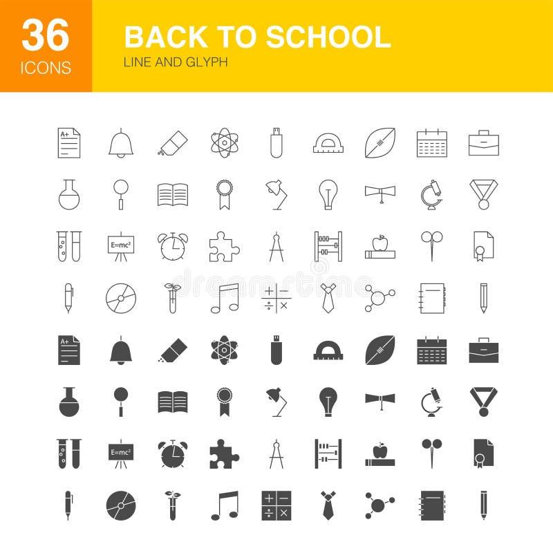 Terug naar de Pictogrammen van het Webglyph van de Schoollijn vector illustratie