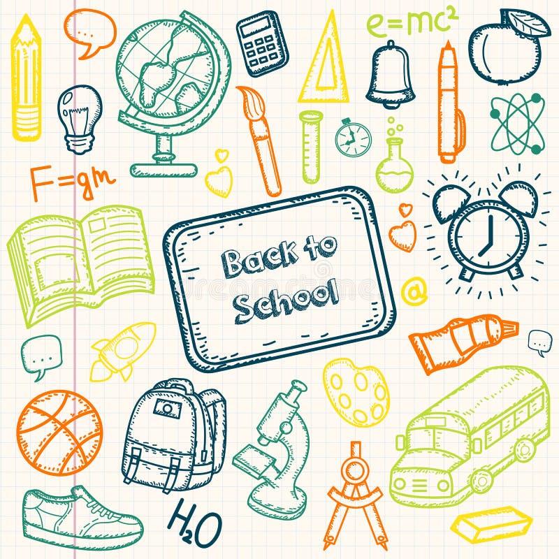 Terug naar de Reeks van de Krabbel van de School De hand trekt schoolpunten op een blad van oefenboek Vector royalty-vrije illustratie