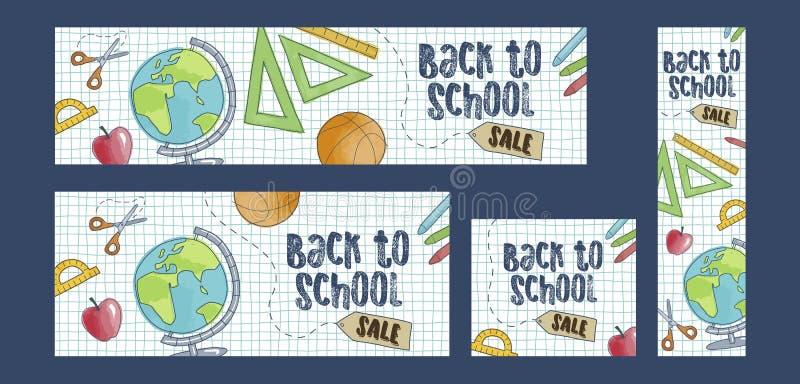 Terug naar de reeks van de schoolverkoop van vier Webbanners, beeldverhaalstijl vector illustratie