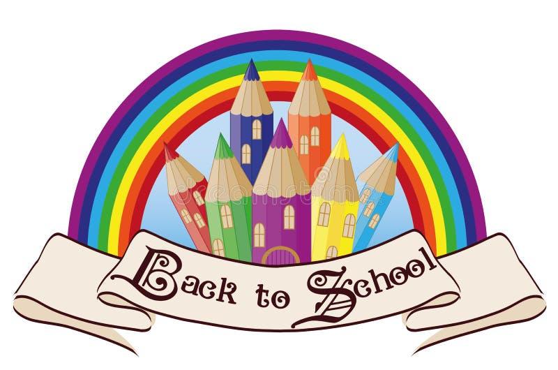Terug naar de schoolkasteel van de School Magisch regenboog vector illustratie