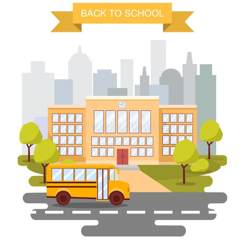 Terug naar de vectoraffiche van het schoolconcept Schoolbus met het voortbouwen op achtergrond Primaire stad en middelbare school royalty-vrije illustratie