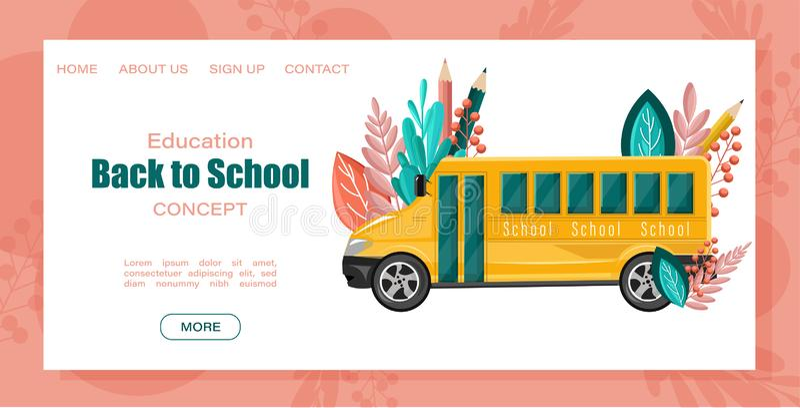 Terug naar de Vectoraffiche van de schoolbus Het malplaatje van de verkoopbevorderingen van de de herfstdaling Abstracte brochure stock illustratie