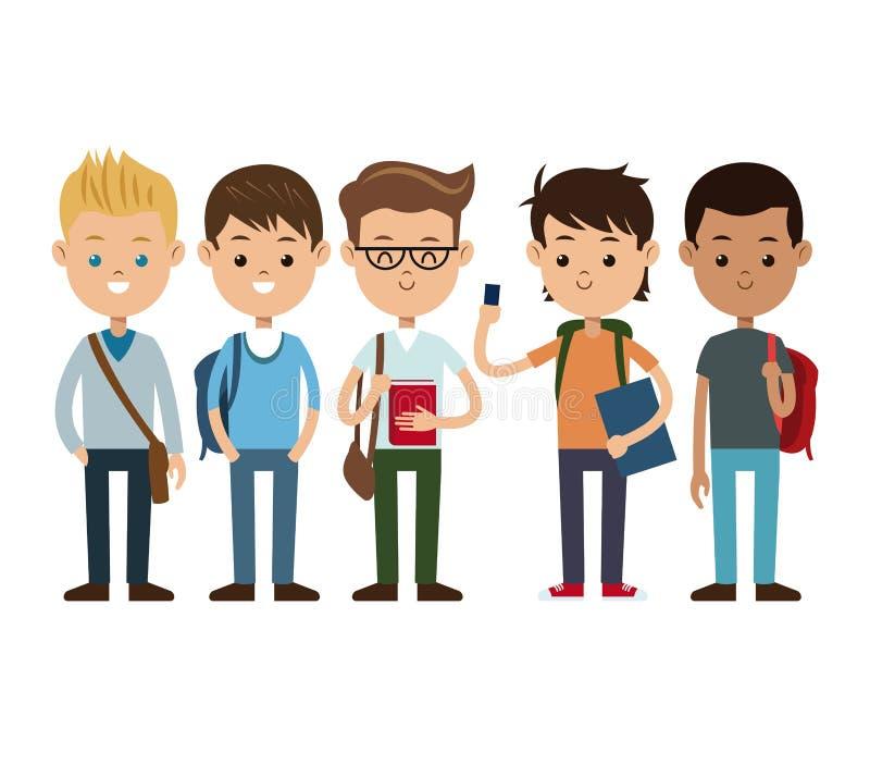 Terug naar gelukkige de jongens van schoolvrienden vector illustratie