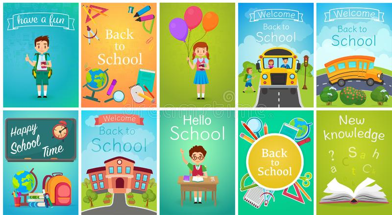 Terug naar geplaatste het malplaatjebanners van de Schoolkaart, schoolbus, jonge geitjes, borden, boek, de vectorillustratie van  vector illustratie