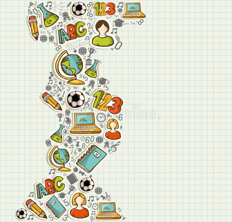 Terug naar het beeldverhaalpictogrammen van het Schoolonderwijs. vector illustratie