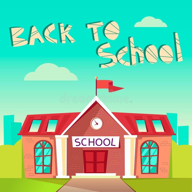 Terug naar het Concept van de School Bouwschoolgebouw vlakke vectorillustratie Onderwijsaffiche Elementair, hoog royalty-vrije illustratie