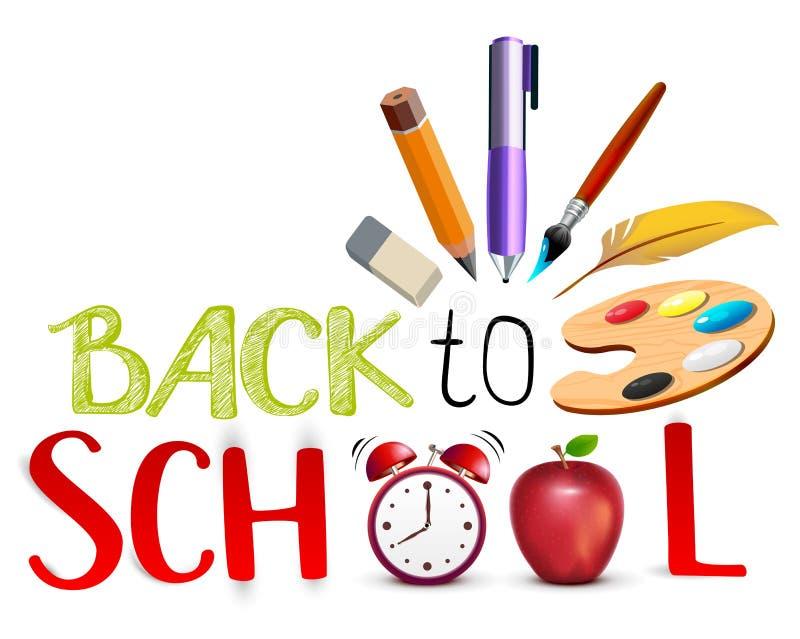 Terug naar het concept van de schooltekst Het onderwijssymbool heeft rode appel, palet, potlood, wekker bezwaar royalty-vrije illustratie