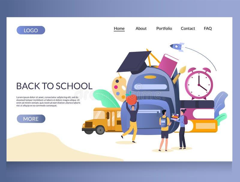 Terug naar het landingspaginaontwerpsjabloon van de school vectorwebsite stock illustratie
