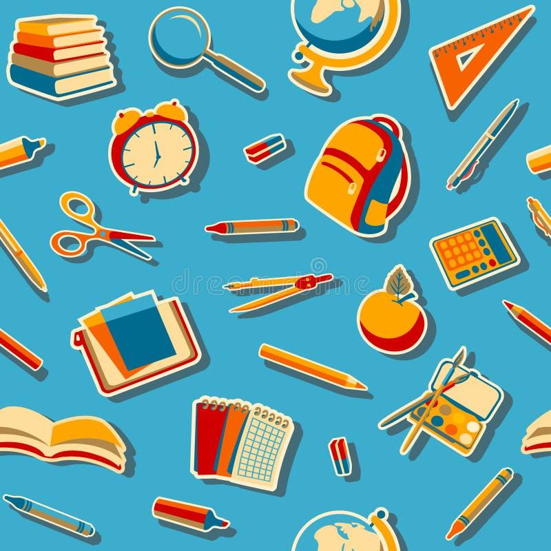 Terug naar het naadloze patroon van Schoolkrabbels stock illustratie