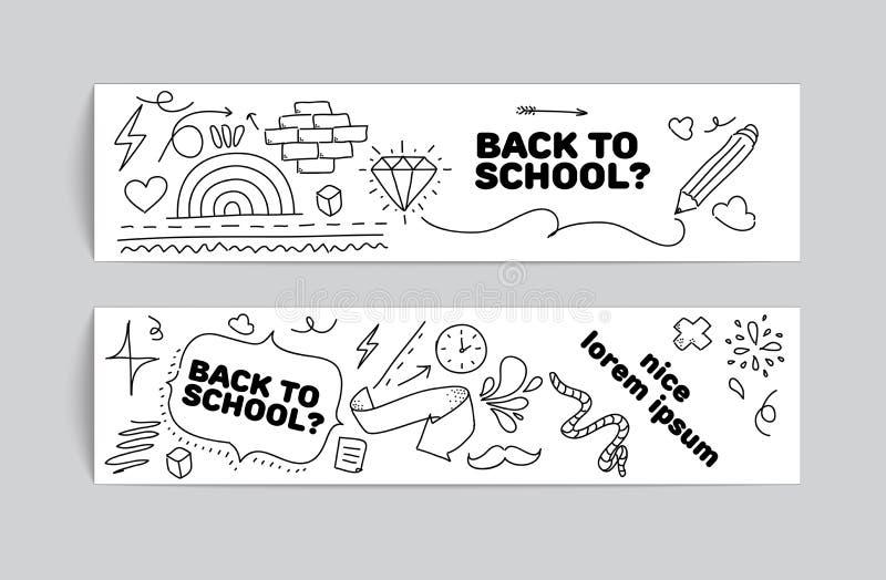 Terug naar het ontwerp van de schoolbanner Hand getrokken krabbels royalty-vrije illustratie
