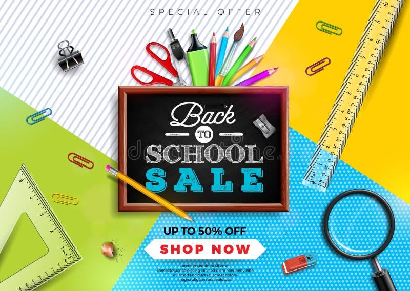 Terug naar het ontwerp van de schoolverkoop met kleurrijk potlood, borstel en andere schoolpunten op gele achtergrond Vector illu royalty-vrije illustratie