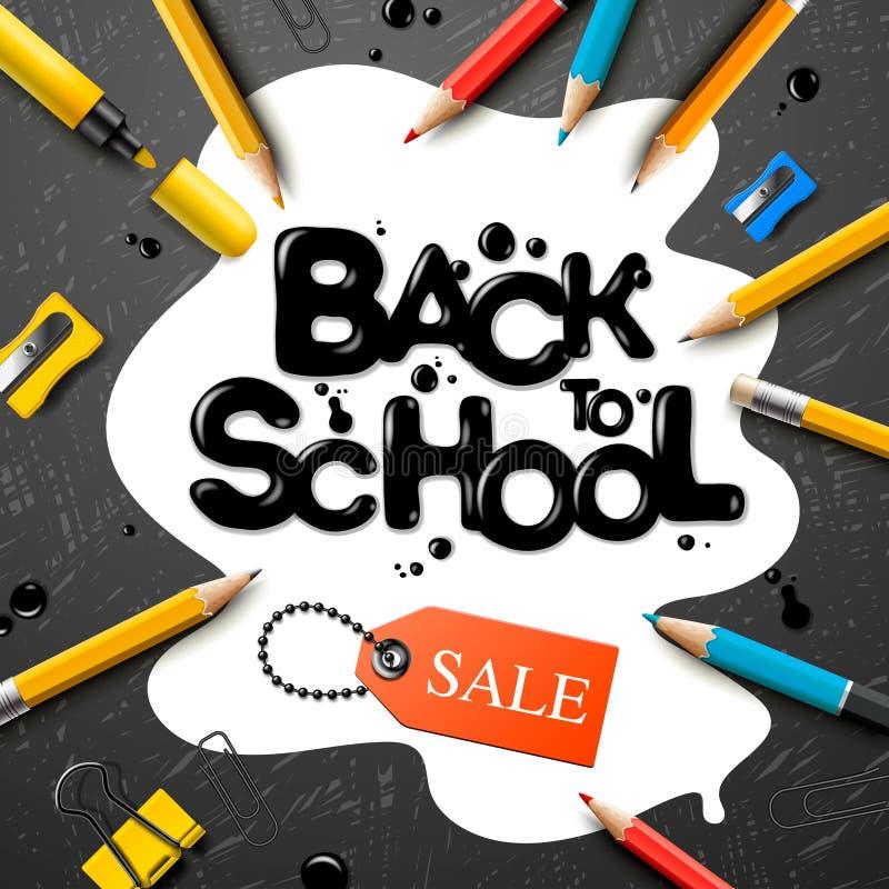 Terug naar het ontwerp van de schoolverkoop met potloden en typografie het van letters voorzien Vectorschoolillustratie voor affi stock illustratie