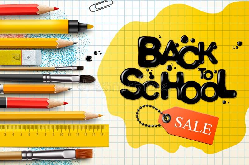 Terug naar het ontwerp van de schoolverkoop met potloden en typografie het van letters voorzien Vectorschoolillustratie voor affi royalty-vrije illustratie