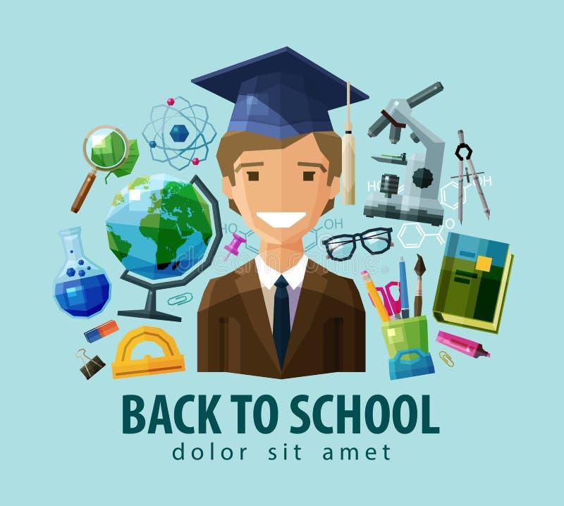 Terug naar het ontwerpmalplaatje van het school vectorembleem stock illustratie