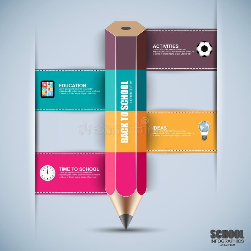 Terug naar het ontwerpmalplaatje van schoolinfographics royalty-vrije illustratie