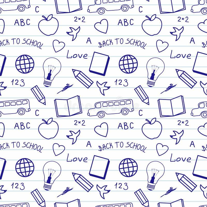 Terug naar het Patroon van Schoolkrabbels royalty-vrije illustratie