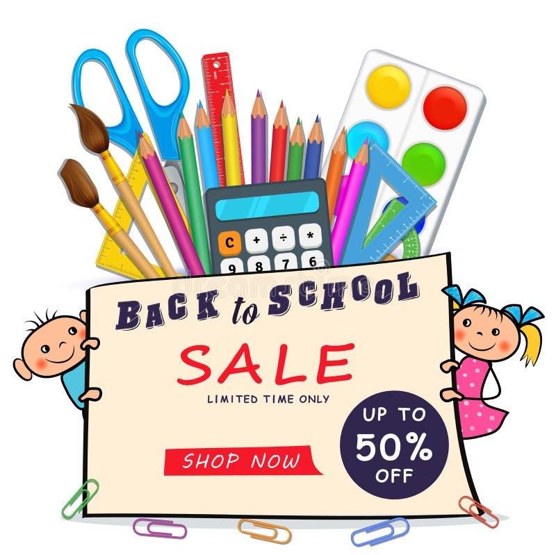 Terug naar het Webbanner van de schoolverkoop met realistische die levering, krabbeljongen en meisjeskinderen op witte achtergron stock illustratie
