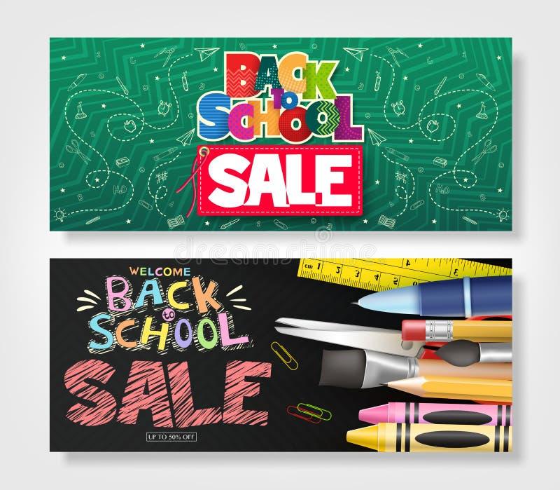 Terug naar Horizontale die de Advertentiebanner van de Schoolverkoop met Creatieve Hand Getrokken Krabbel wordt geplaatst vector illustratie