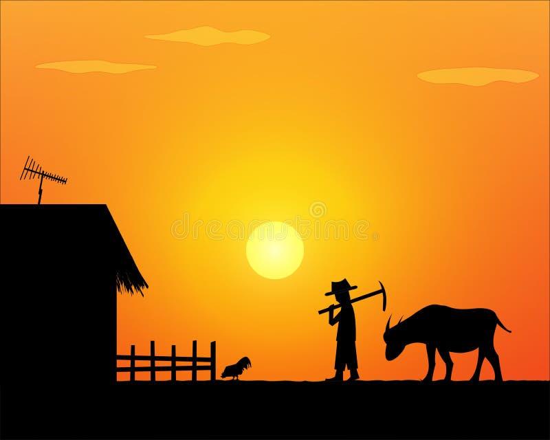 Terug naar huis Alleen het levenslandbouwer in platteland stock illustratie