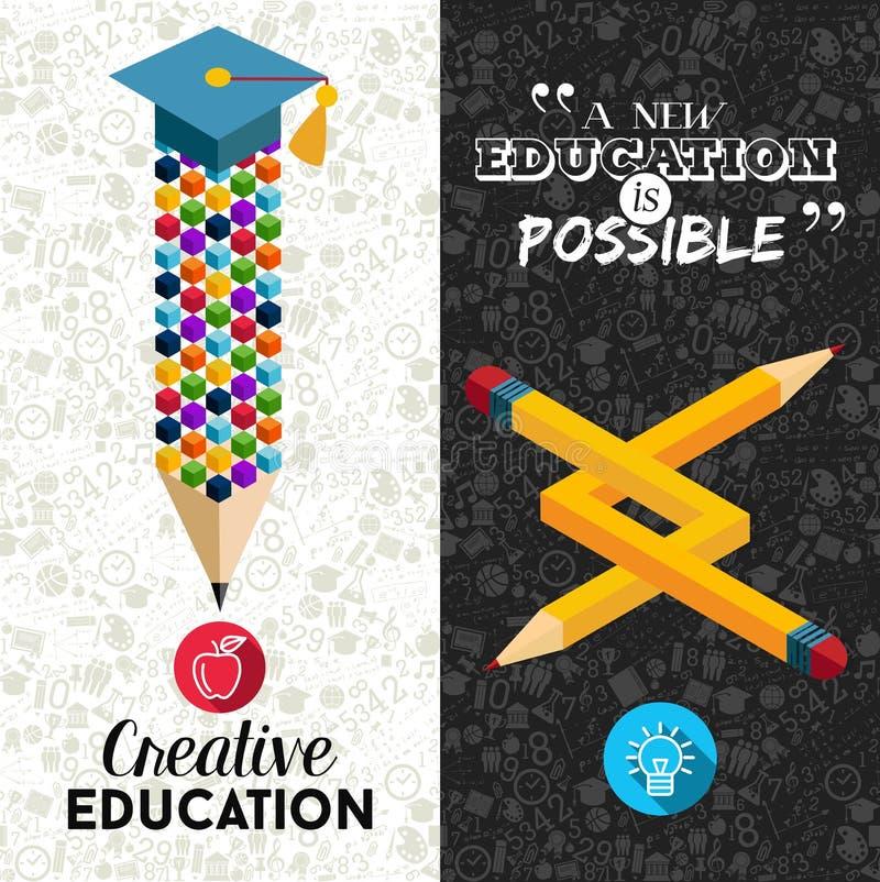 Terug naar illustratie van de school de creatieve banner stock illustratie