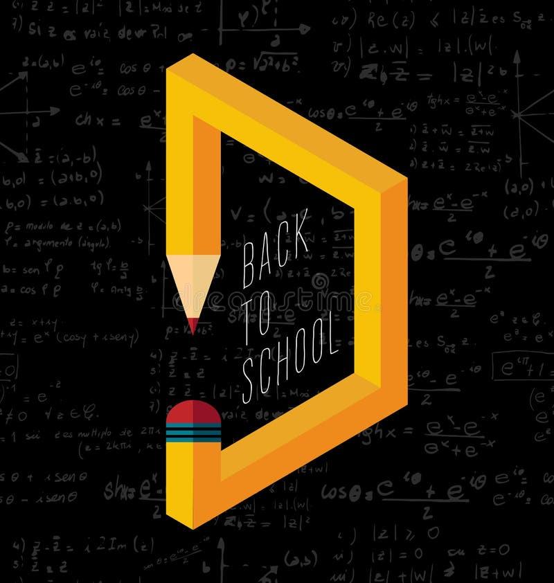 Terug naar illustratie van het school de creatieve potlood stock illustratie