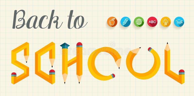 Terug naar illustratie van school de creatieve brieven vector illustratie