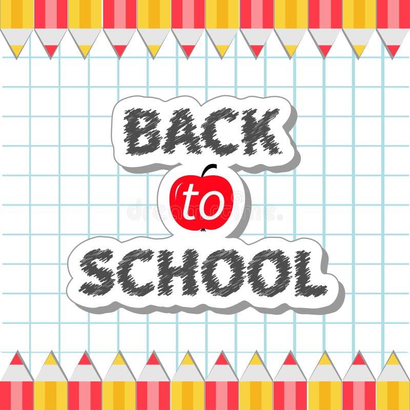 Terug naar kader van het school het Gele en rode potlood op document blad achtergrondoefenboek Vlak ontwerp stock illustratie