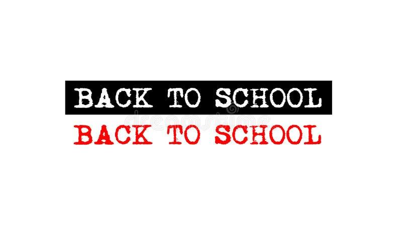 terug naar kenteken van de school het rubberzegel met embleem van de schrijfmachine het vastgestelde tekst stock illustratie
