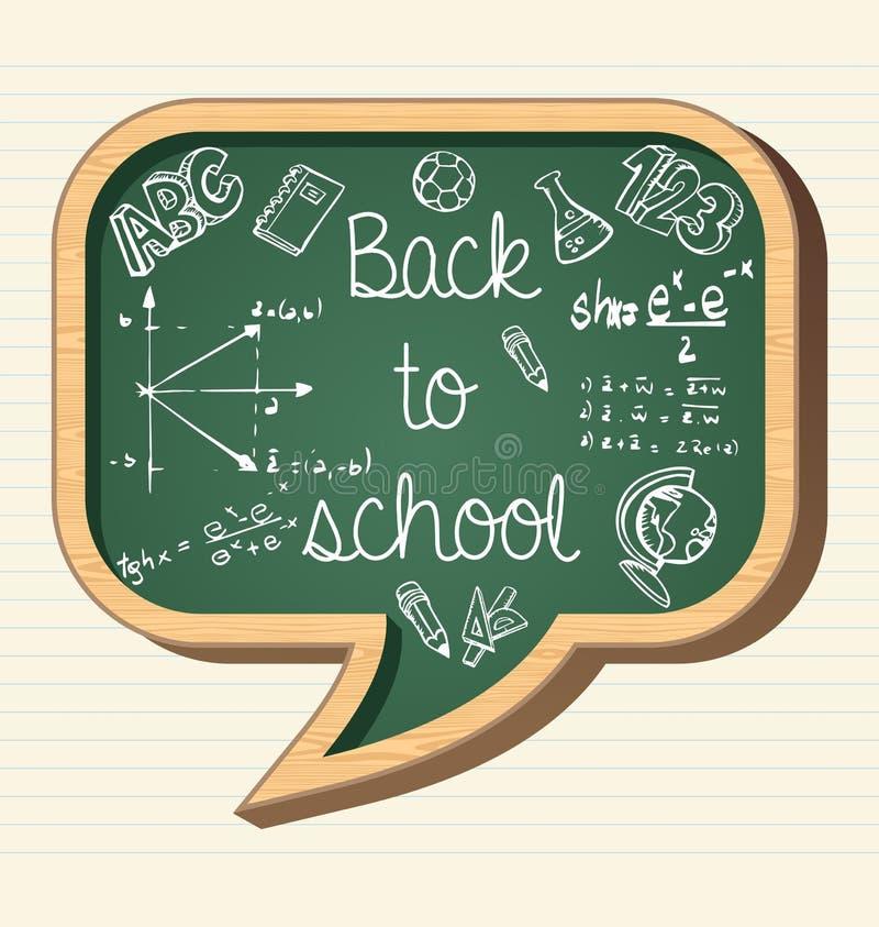 Terug naar krijt van de de pictogrammen het sociale bel van het schoolonderwijs stock illustratie