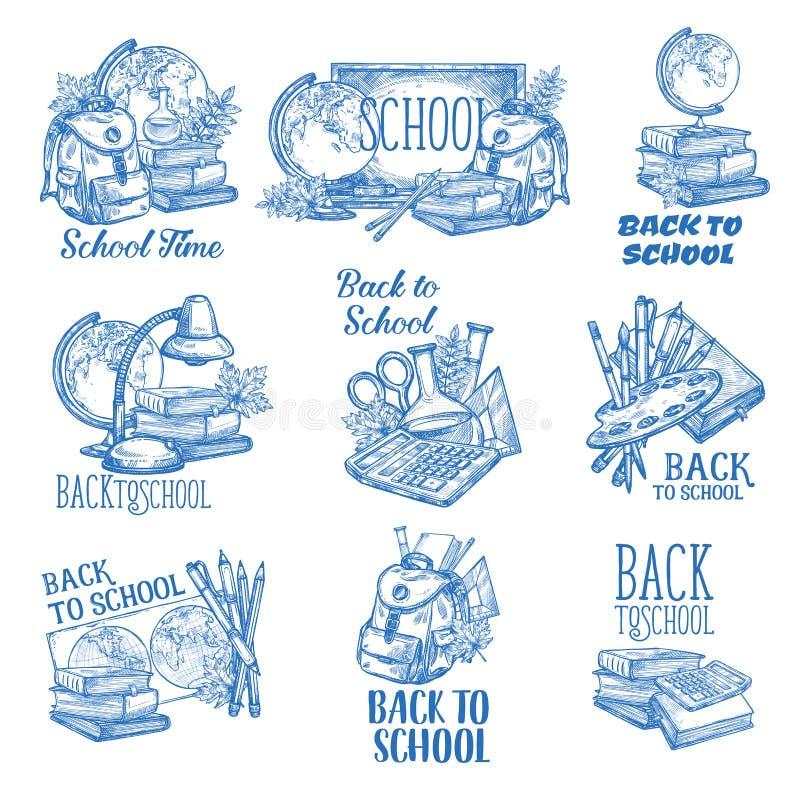 Terug naar pictogrammen van de de penschets van de School de vectorinkt vector illustratie