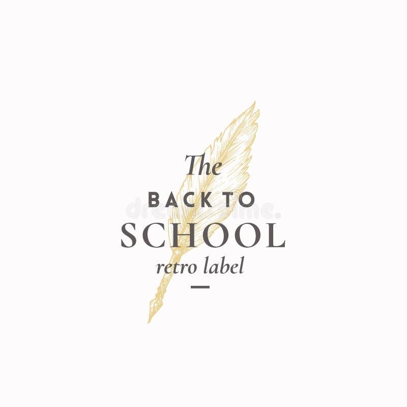 Terug naar School Abstract Vectorteken, Symbool of Logo Template Hand Getrokken Veer Pen Sketch met Elegante Retro Typografie vector illustratie