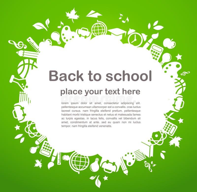 Terug naar school - achtergrond met onderwijspictogrammen vector illustratie