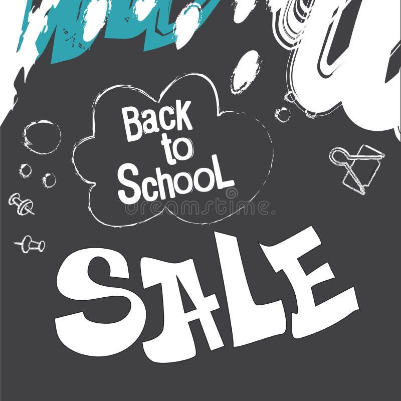 Terug naar School Banner in de vorm van een bord, krijttekeningen op een zwarte achtergrond De levering van de school en van het  stock illustratie
