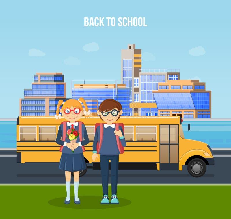 Terug naar School School childs, met rugzakken die naar klassen gaan vector illustratie