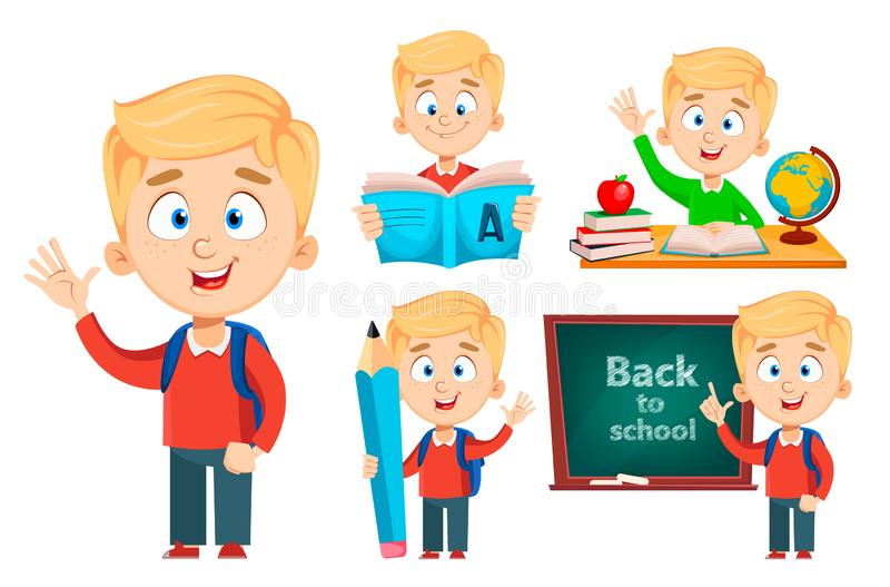 Terug naar School De leuke schooljongen, reeks van vijf stelt royalty-vrije illustratie
