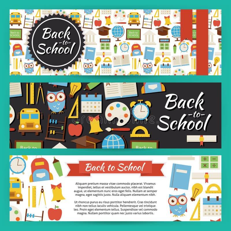 Terug naar School en Onderwijs VectordieMalplaatjebanners op Wijze worden geplaatst royalty-vrije illustratie