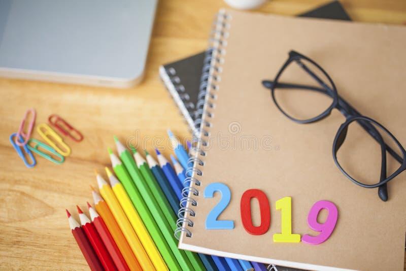 Terug naar school en onderwijsconcept Nieuw jaar 2019 stock foto's