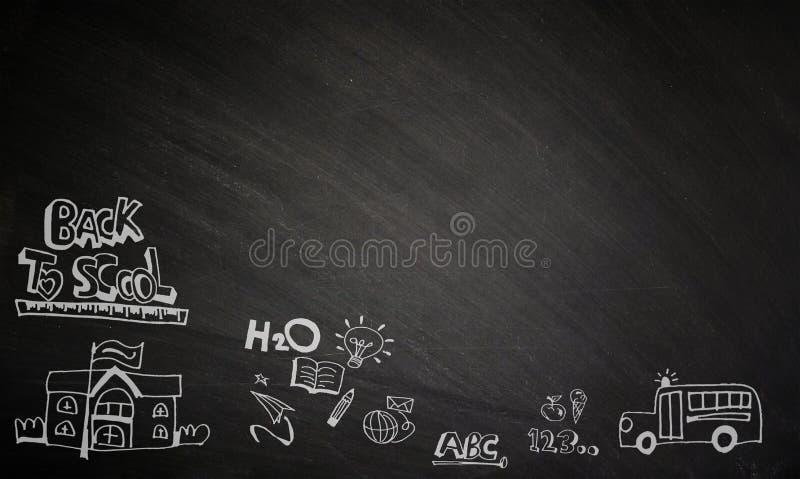 Terug naar school, geschreven op een bord stock foto's