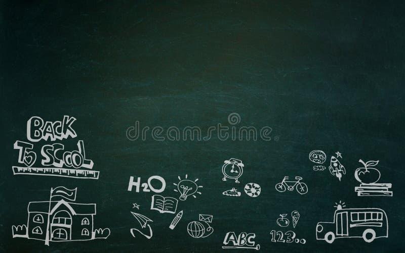 Terug naar school, geschreven op een bord royalty-vrije stock afbeeldingen