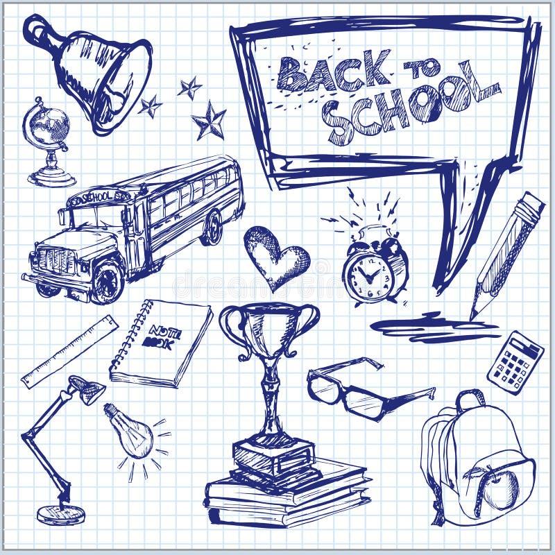 Terug naar school - getrokken hand vector illustratie