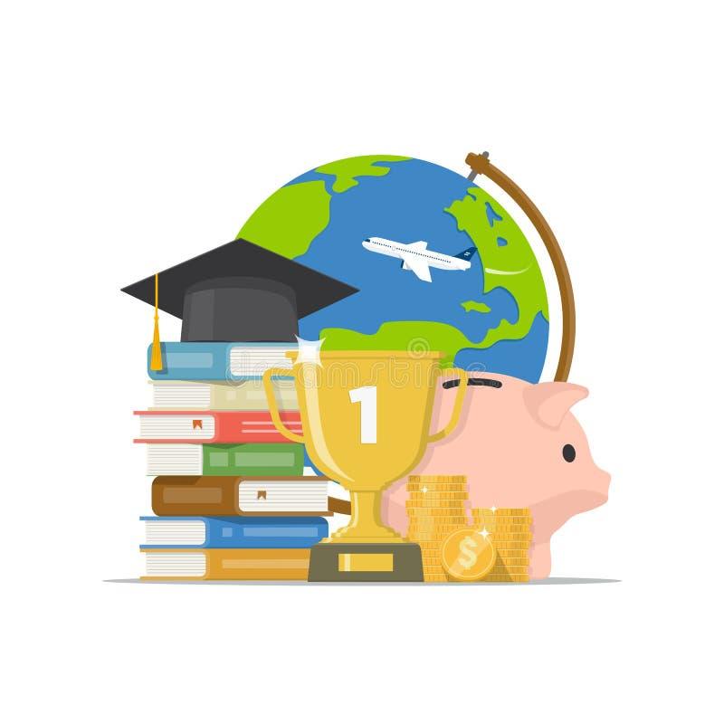 Terug naar school, graduatie, beursconcept Investeer in onderwijs Vector illustratie stock illustratie