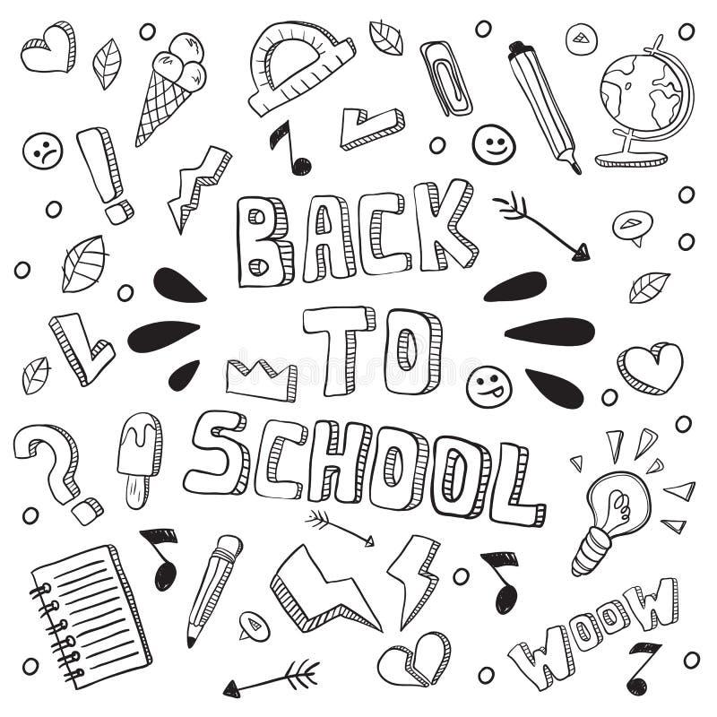 Terug naar school grappige vectorillustratie Zwart-witte geïsoleerde schoollevering en creatieve elementen Het kunstwerk van de k royalty-vrije illustratie