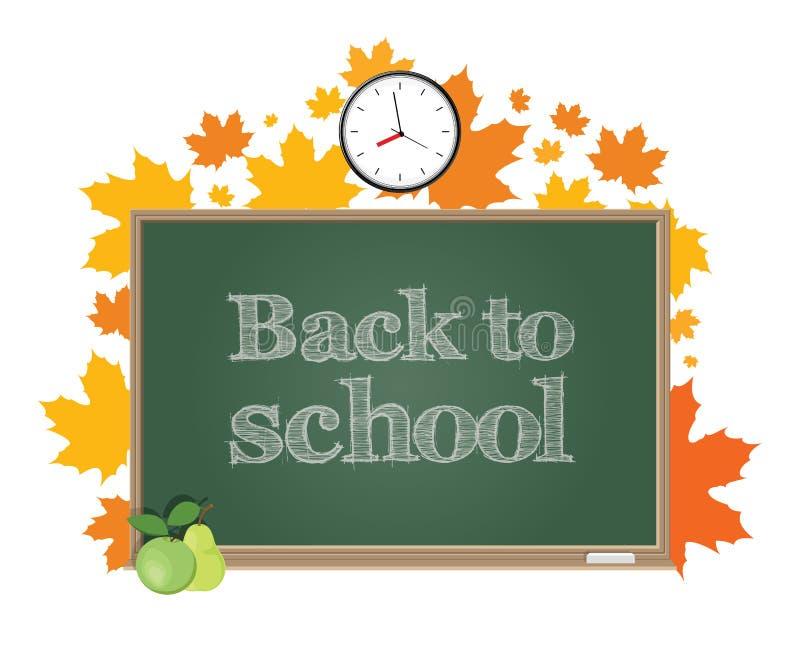 Terug naar School Groene raad op een achtergrond van de bladeren van de de herfstesdoorn royalty-vrije illustratie