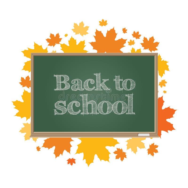 Terug naar School Groene raad op een achtergrond van de bladeren van de de herfstesdoorn stock illustratie