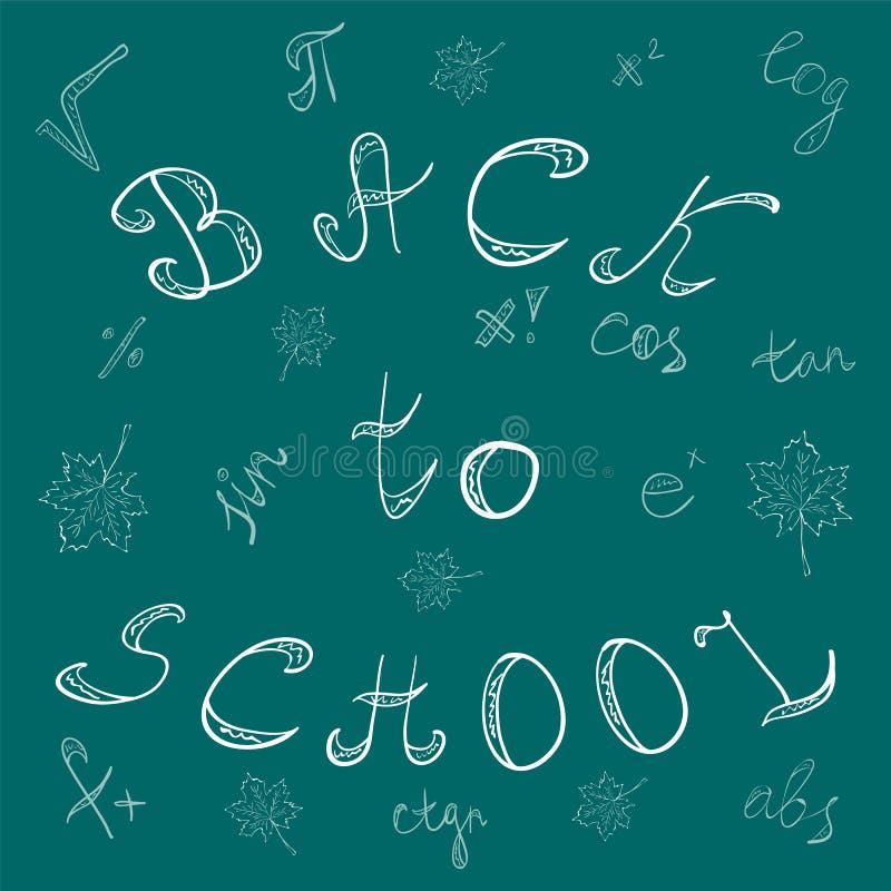Terug naar School Hand Getrokken Brieven, Wiskundesymbolen en Esdoornbladeren Krijtgekrabbel op het Groene Bord royalty-vrije illustratie