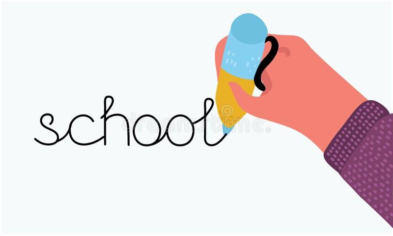 Terug naar School Hand het schrijven tekeningspen stock illustratie
