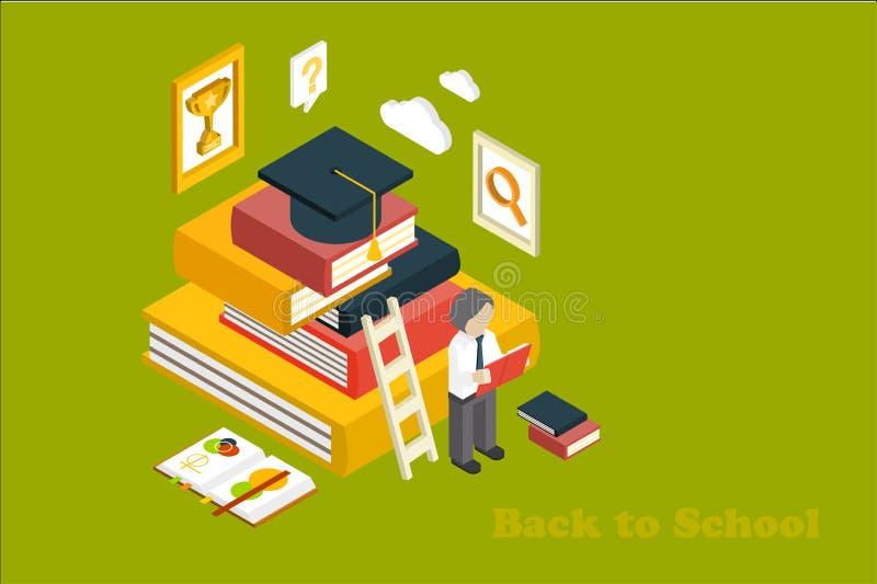 Terug naar School Het isometrische vectorontwerp met stapelboeken, ladder, regelt academische hoed, leraar, vergrootglas, trofee stock illustratie